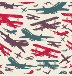 Airplane retro seamless template vector