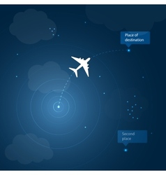 Airplane routes to place of destination vector image vector image