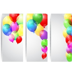Birthday celebration banner with colorful balloons vector