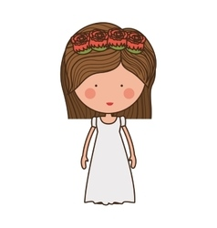 Bride with crown of roses vector