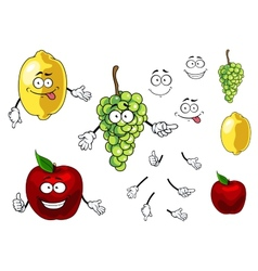 Cartoon smiling apple grape and lemon fruits vector image