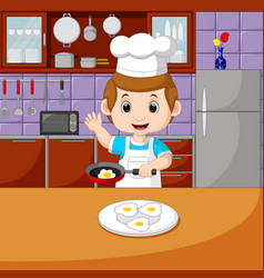 chefs with cooking set vector image