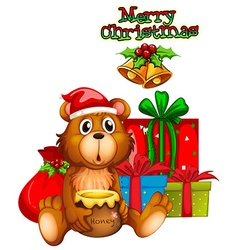 Christmas card design with bear and presents vector