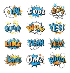 Collection of multi colored comic speech bubble vector image vector image