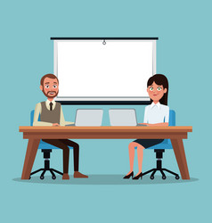 Color background couple executives people sitting vector