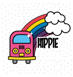 Cute minibus with rainbow and clouds vector