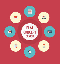 flat icons social media ads building man with vector image vector image