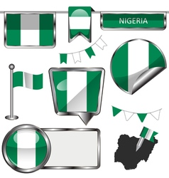 Glossy icons with nigerian flag vector