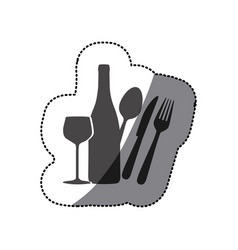 Grayscale wine bottle glass and cutlery icon vector