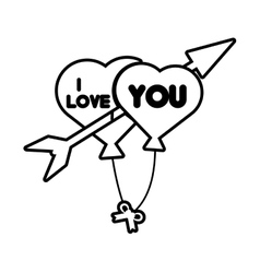 I love hearts arrow flying card outline vector