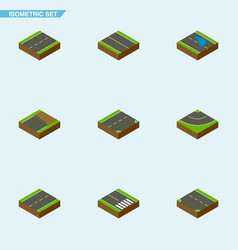 Isometric way set of pedestrian down cracks and vector