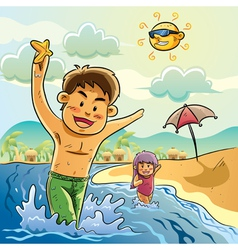 kids playing on the beach vector image vector image