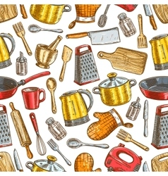 Kitchenware dishware kitchen utensils pattern vector