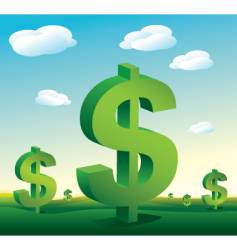 landscape dollar signs vector image vector image