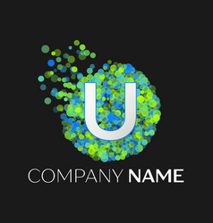 letter u green yellow particles and bubble dots vector image