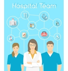 Medical clinic staff doctor and nurses vector image vector image
