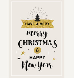 merry christmas hand drawn card lettering design vector image