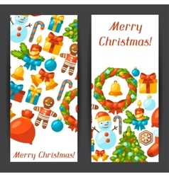 Merry Christmas holiday banners with celebration vector image vector image
