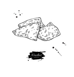 Nachos drawing traditional mexican food vector