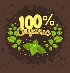 Organic product label logo design with a mint vector