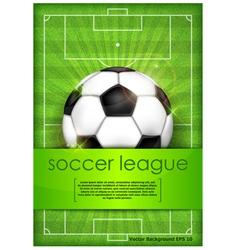 Playing field ball green background soccer vector