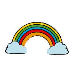 Rainbow clouds color fairytale magic vector
