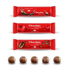 Red chocolates truffles realistic product vector