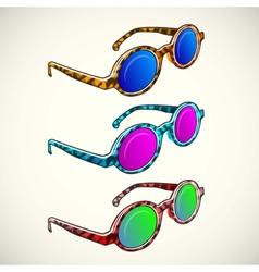 Retro sun glasses summer plastic lens color vector image vector image
