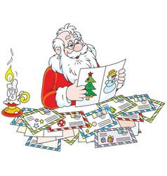 Santa claus reading letters vector