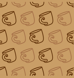 seamless pattern with coffee mug on a brown vector image vector image
