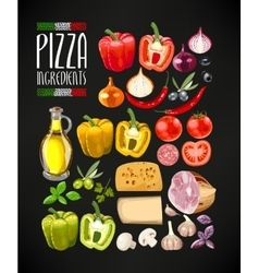 Set of pizza ingredients vector image