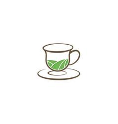 tea organic cup vintage logo vector image