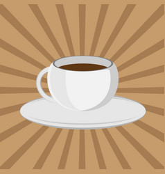 The coffee cup on a brown background lunch vector