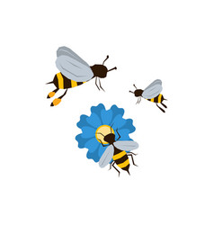 three bees icon vector image