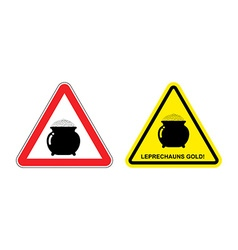 Warning sign attention leprechaun gold Hazard vector image vector image