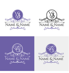 Wedding logo3 calligraphic ornament vector