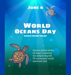 world oceans day june 8 vector image vector image