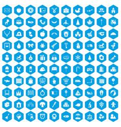 100 nursery school icons set blue vector