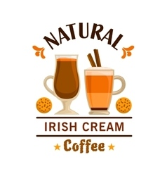 Coffee label irish cream element design vector