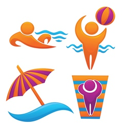 summer trevel and vocation symbols vector image