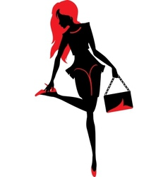 Silhouette of woman with a bag vector