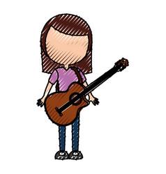 Scribble women guitar cartoon vector