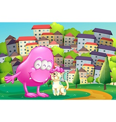 A pink monster patting a pet at the hilltop across vector