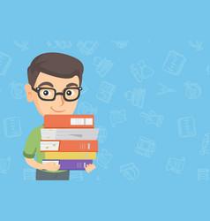 Caucasian school child holding pile of textbooks vector