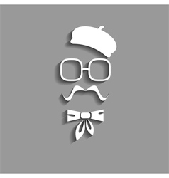 Hipster in beret paper silhouette vector