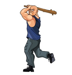 Bald strong man brandishing cudgel vector