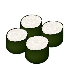 Rice maki sushi roll on white background vector