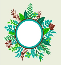 Round frame with painted green leaves vector