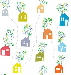 Houses and flowers seamless pattern vector