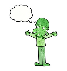 Cartoon alien squid face man with thought bubble vector